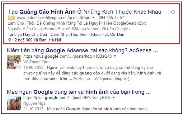 Quảng cáo tìm kiếm động GSB.edu.vn