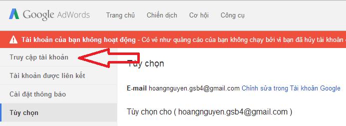 làm trong sạch một email tài khoản adwords