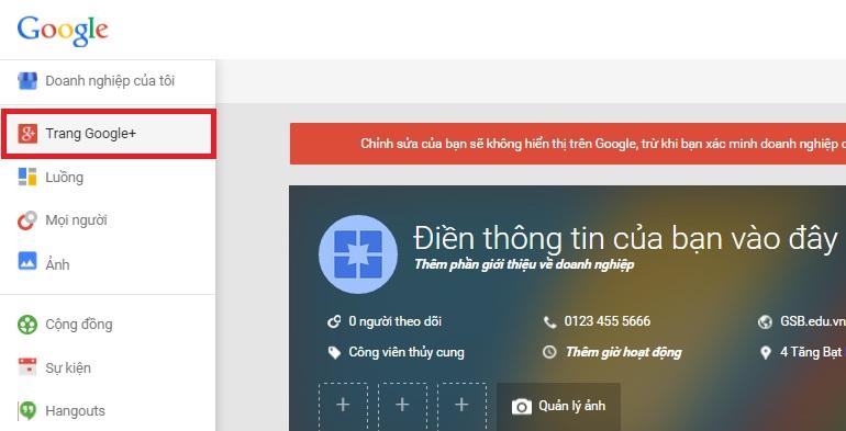 Đến trang Google+